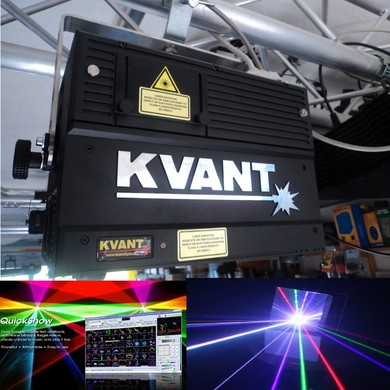 Laser Lasershow Laserverleih KVANT Spektrum 1,6 Watt LM RGB Full Color HIGH END Laserprojektor Grafik- Logo- & Beamshow Projektionen mit RGB-System inkl. PANGOLIN Lasersoftware Verleih mit und ohne Personal !