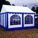 Festzelt / Partyzelt / Pavillon / Zelt 4 x 4 m / 16 qm / Zelt wei 7 blau mit Fenster / ohne Boden