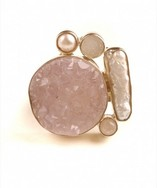 Rose Quartz Mother of Pearl Ring