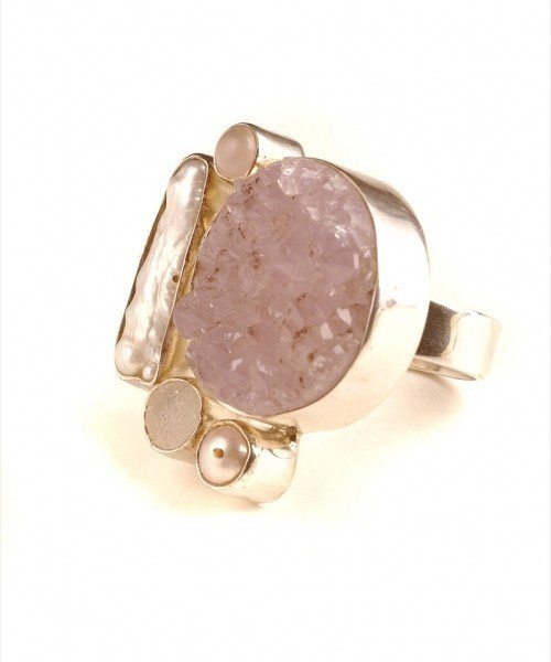 Rose Quartz Mother of Pearl Ring from Wanstead on erento.co.uk