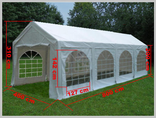 profi partyzelt 4 x 8 m stabil wetterfest pvc 60. Black Bedroom Furniture Sets. Home Design Ideas